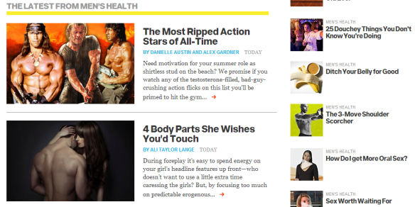 Screenshot of Men's Health web site.