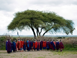 Maasai tribe welcoming the tourists to their village in the Serengeti National Park, Tanzania