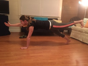 "The ""Bird Dog Plank."" I fell over the first time I tried this."